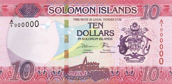 P33 Solomon Islands 10 Dollars Year 2018